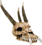 "Possess the ancient skull of the most powerful creature of medieval lore! Our large dragon skull is cast in resin and detailed to a very old and realistic finish. For table or wall mount. 14"" H."