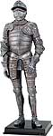 Display the style and artistry of medieval armour in your home or office with this exquisitely detailed 12-1/2 inches tall knight figure clad in Milanese Armor. The knight is expertly cast in resin with an antique pewter finish and hand detailed with striking gold accents.