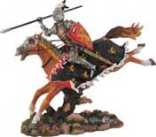 "A gallant knight figure atop his steed, takes aim for the charge, ready with spear in hand for the ""assault"" to claim victory for right. Individually hand painted and finely detailed, this is a realistic portrait of Knighthood in action. 8-1/2"" x 9""W."