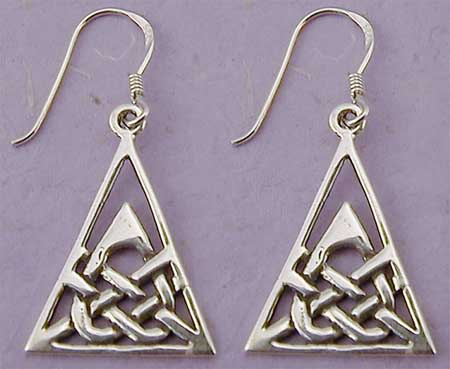 "The Celtic earrings -  triad design with all energy rising to the center point is considered to have powerful positive energy...something everyone could use. Beautifully crafted in Sterling Silver. Dimensions exclude sterling silver French wires. 5/8"" x 7/7""."