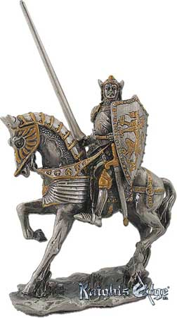 "The medieval knights on horseback are crafted from lead free pewter. This knight adds the perfect decorating touch to your castle decor! Each exquisitely detailed knight stands with weapon. The knight on horseback pewter figurine stands 4"" tall."