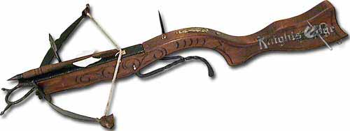 Medieval Crossbows - A most trusted line of defense for the medieval castle in middle age warfare was the fearless guard, atop the tower with his tower guards crossbow. This beautifully made replica is made in Italy and is intended for decorative use, however, has moving parts.